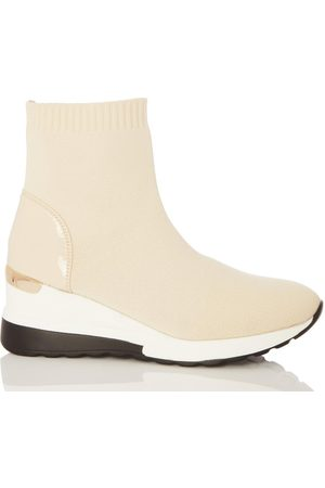 Quiz Nude Knit Wedge Sock Trainer