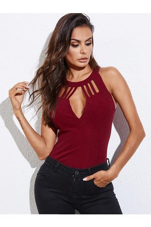 YOINS BASICS Burgundy Cut Out Design Halter Sleeveless Cami
