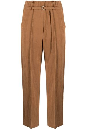 ALYSI Women Pants - Belted cropped trousers