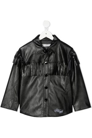 PHILOSOPHY DI LORENZO SERAFINI Fringe-trimmed faux-leather jacket