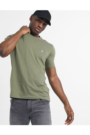 Original Penguin Pin point icon embroidered logo t-shirt in deep lichen