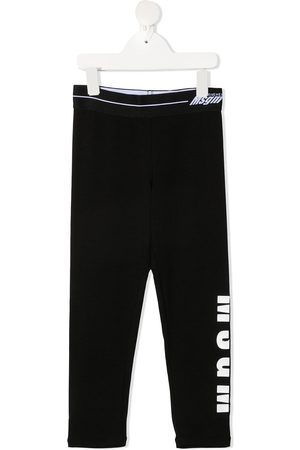 Msgm Girls Leggings - Logo-print stretch-cotton leggings