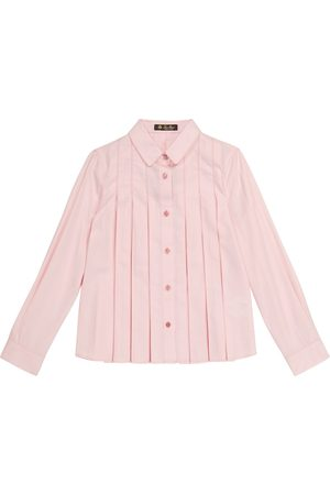 Loro Piana Girls Blouses - Ambre pleated cotton and silk blouse