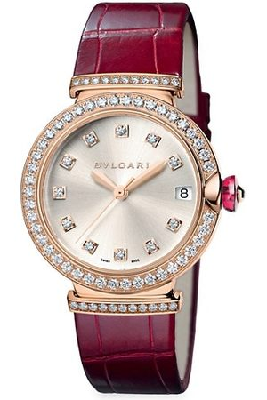 Bvlgari LVCEA 18K Rose Gold, Diamond & Alligator Strap Watch