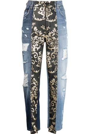 Dolce & Gabbana Women Tapered - Baroque-panel tapered jeans