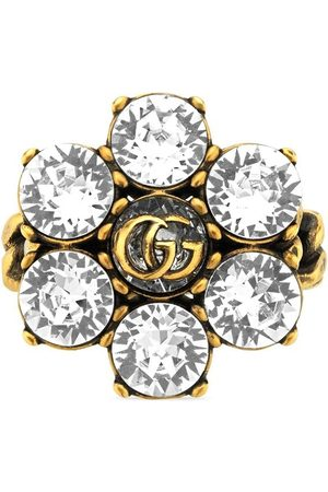 Gucci Women Rings - Crystal-embellished Double G ring