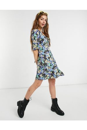 New Look Ruched bust mini tea dress in ditsy floral