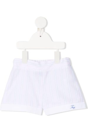 FAY KIDS Shorts - Embroidered logo striped shorts
