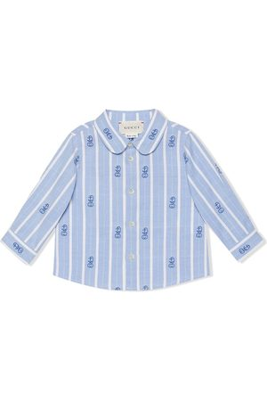 Gucci Tops - GG embroidered candy-stripe shirt