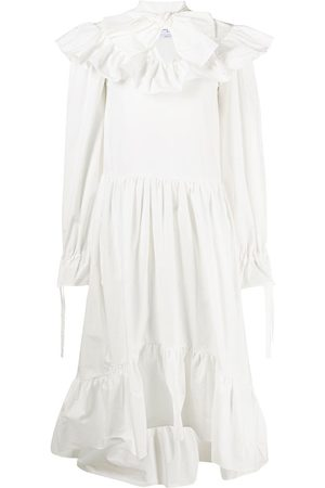 Msgm Women Midi Dresses - Ruffled midi dress