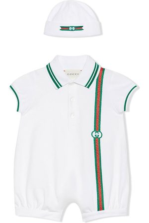 Gucci Baby Rompers - Web-stripe romper and hat set