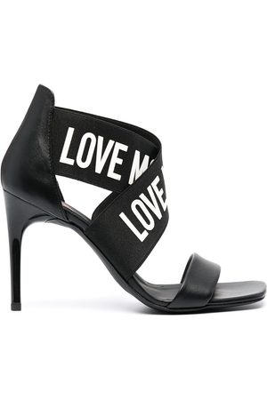 Love Moschino Logo-print crossover strap pumps