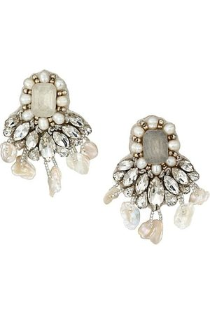 RANJANA KHAN 1-8MM Pearls, Glass Beads & Crystals Drop Earrings