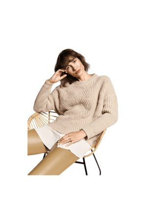Riani Chunky Knit Ribbed Crew Neck Colour: Trench