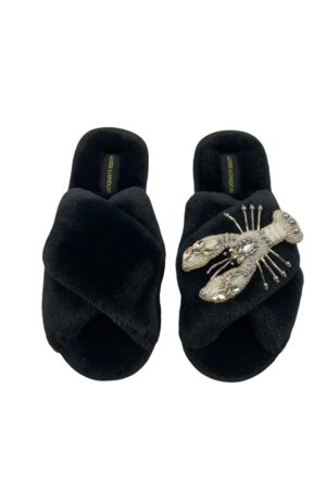 Laines London Fluffy Slippers White Pearl & Crystal Lobster Brooch