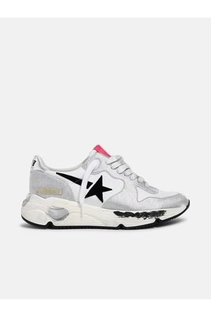 Golden Goose Running Sole Nylon Upper Checkered Glitter Toe And Spur Suede Star