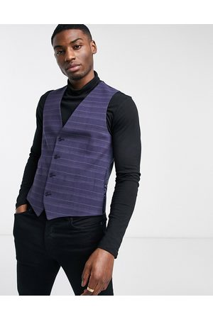 French Connection Slim fit marine check suit waistcoat