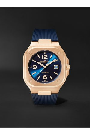 Bell & Ross Men Watches - BR 05 Gold Automatic 40mm 18-Karat Rose Gold and Rubber Watch, Ref. No. BR05A-BLU-PG/SRB