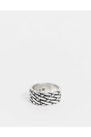 Icon Brand Band ring in with woven texture