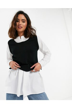 New Look 2 in 1 knitted vest and volume sleeve shirt in