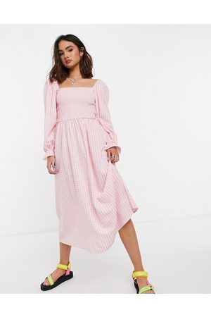 New Look Shirred midi dress in gingham
