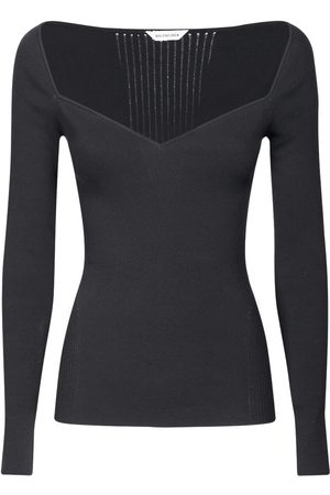 Balenciaga Women Strapless Tops - Off-the-shoulder Long Sleeved Knit Top
