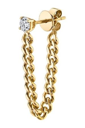 Anita 18K & Diamond Cuban-Link Loop Single Earring
