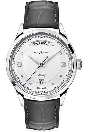 Mont Blanc Heritage Stainless Steel & Alligator Strap Automatic Day-Date Watch