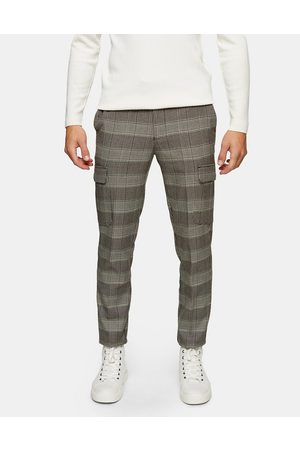 Topman Men Cargo Pants - Stretch skinny cargo trousers in neutral check