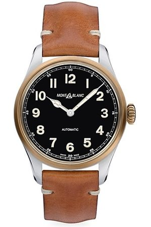 Montblanc Watches - 1858 Stainless Steel & Leather Strap Watch