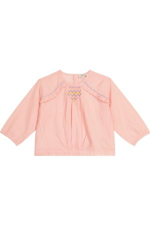 Caramel Krill embroidered cotton-blend blouse