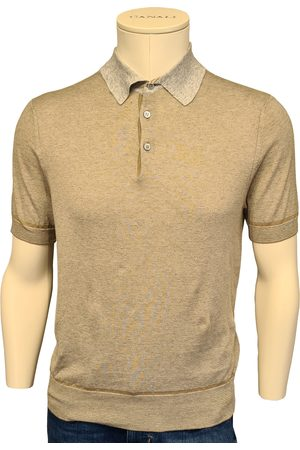 CANALI Biscuit Knitted Polo Shirt with Contrast Collar C0780 MK01140/700