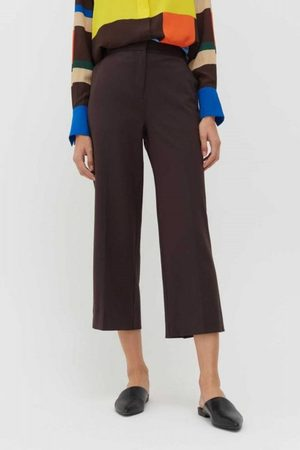 Chinti And Parker Wool-Twill Cropped Trouser in Bitter Chocolate