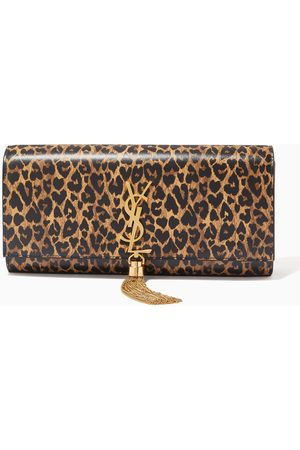 Saint Laurent Women Clutches - Kate Tassel Clutch in Heart-shaped Leopard-print Leather
