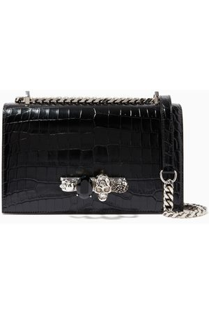 Alexander McQueen Women Clutches - Jewelled Satchel in Croc Embossed Calfskin
