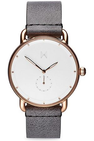 MVMT Revolver Ghost Rose Goldtone Stainless Steel & Leather-Strap Watch