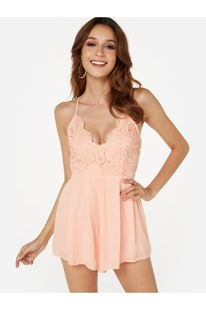 YOINS Semi Sheer Sleeveless Open Back Elastic Waist Playsuit with Lace Insert