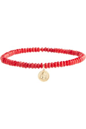 Sydney Evan Women Bracelets & Bangles - Sitting Buddha 14kt gold bamboo coral bracelet with diamond
