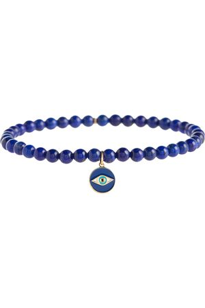 Sydney Evan 14kt gold charm bracelet with lapis