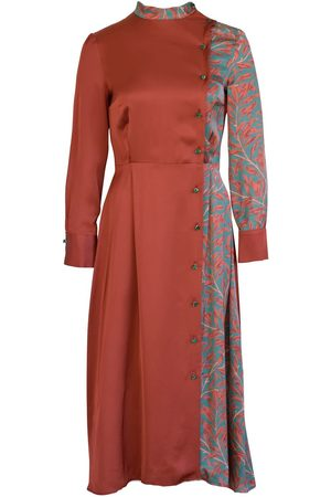 Anna Etter Long Sleeve Immie Satin Dress with Floral Print