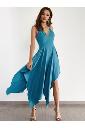 YOINS Sexy V-neck & Asymmetrical Maxi Dress in Turquoise