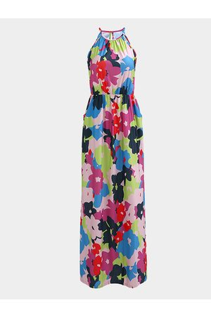 YOINS Halter Design Random Floral Print Pattern Vacation Style Maxi Dress