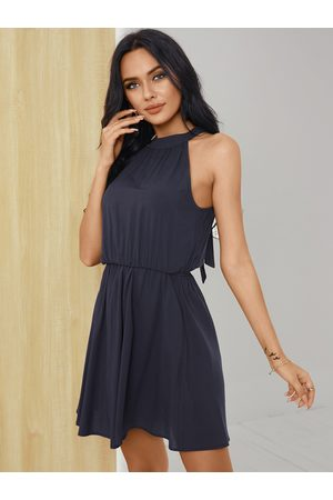 YOINS Navy Halter Pleated Cut out Tie-up design Sleeveless Dress