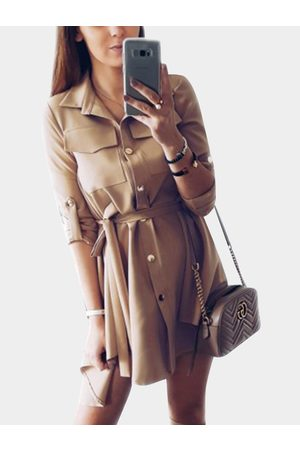 YOINS Collar Lace-up Design Single Breasted Button Long Sleeves Shirt Dress