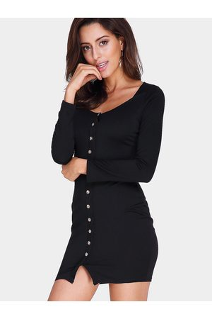 YOINS Bodycon V-neck Single Breasted Casual Dress