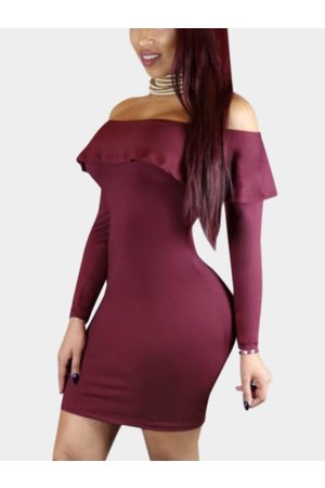 YOINS Sexy Off Shoulder Flouncy Hem Bodycon Party Dress