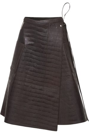 Peter Do Women Leather Skirts - Croc Embossed Leather Wrap Skirt