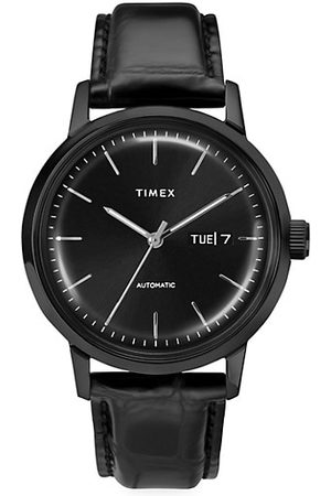 Timex Marlin® Automatic Day-Date Leather Strap Watch