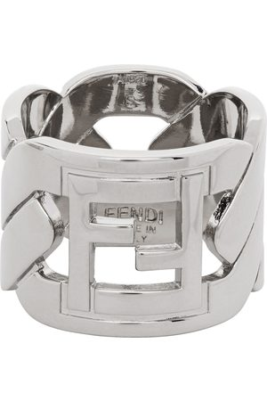 Men Rings - Fendi Silver 'Forever Fendi' Chain Ring