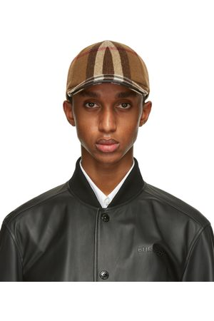 Men Caps - Burberry Brown Wool Check Baseball Cap